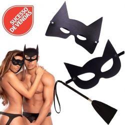 Kit Casal 3x1 Máscara Batman e Mulher Gato + Chibata